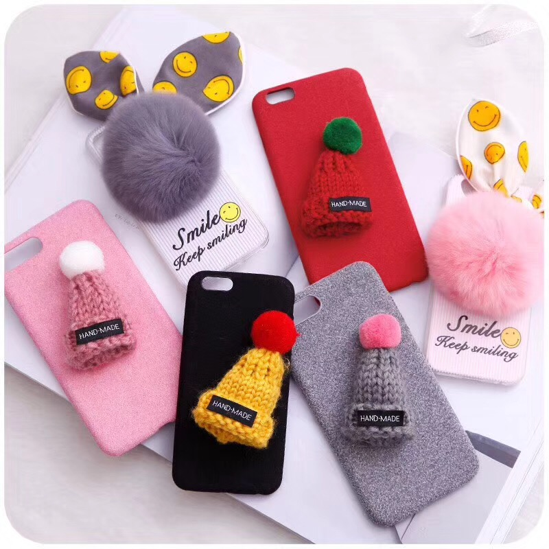 New Winter Cartoon Cloth Stent hats fluffy <font><b>Phone</b></font> <font><b>Case</b></font> <font><b>for</b></font> iphone7 7plus <font><b>6</b></font> 6s 8 8plus funny <font><b>3d</b></font> Christms gift Cover Capa