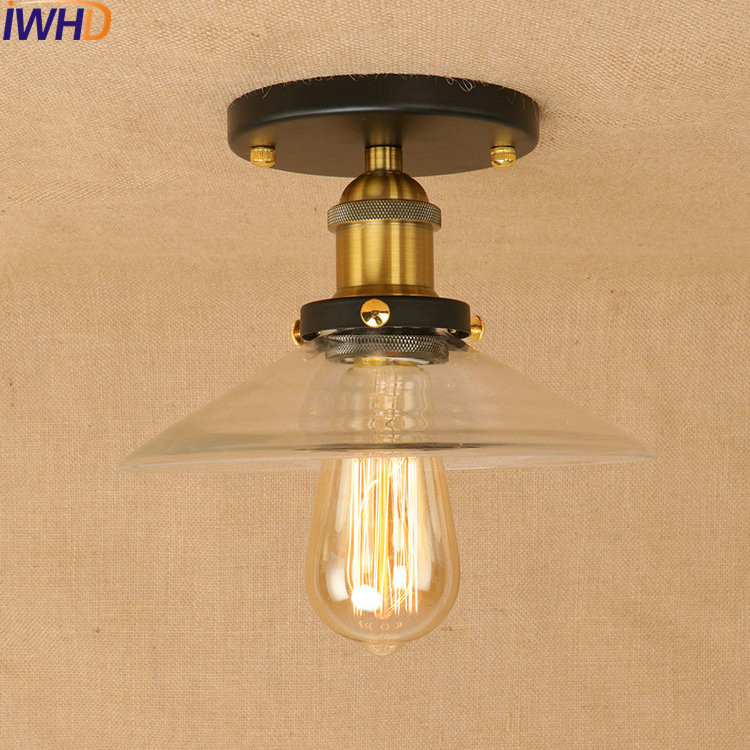 Clear Glass Loft Style LED Ceiling Lights RH Iron Industrial Vintage Ceiling Lamp Fixtures Home Lighting Bar Lamparas De Techo