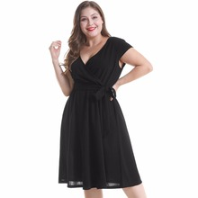 Black dress women vestido casual dress v neck vestidos european style lace-up plain short sleeve defined-waist Swing dress недорого