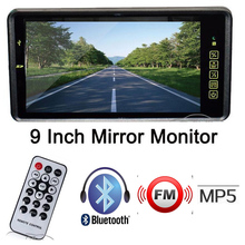 1024 x 600 HD 9 Inch LCD Car Mirror Monitor Bluetooth MP5 FM Music Player USB SD Remotely control Audio input Parking assistance