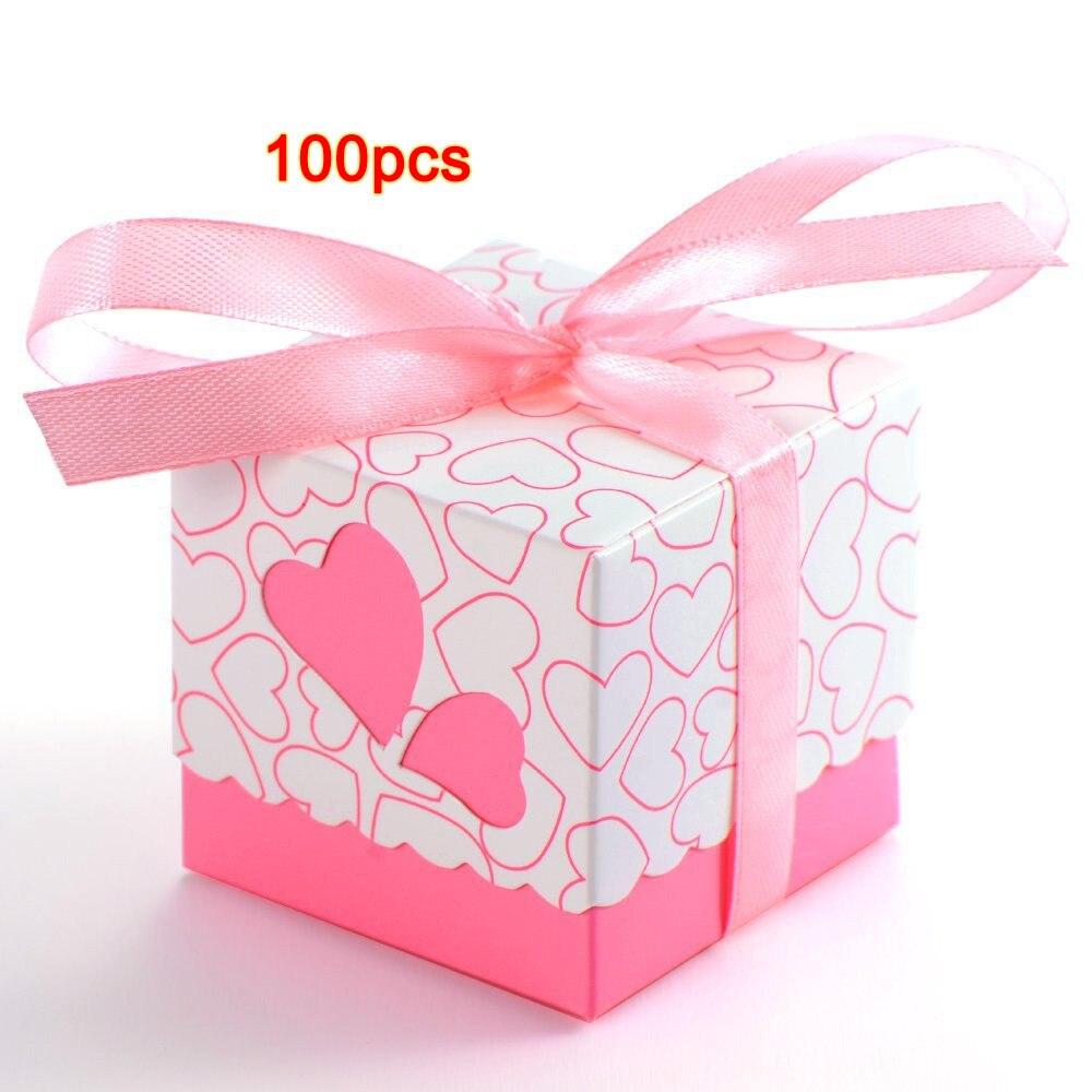 100pcs Pink heart wedding laser candy box favor box wedding favour box for girls boys birthday100pcs Pink heart wedding laser candy box favor box wedding favour box for girls boys birthday