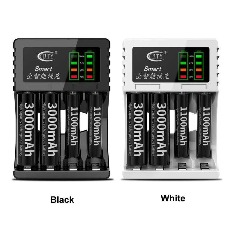 Battery Charger BTY 704A3 4 Slots LCD Display Intelligent Charger For Battery AA / AAA Ni-Cd Ni-Mh Rechargeable Batteries