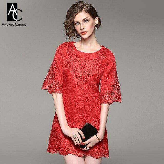 59aadb583e Wiosna jesień kobieta sukienka drążą rocznika wzór kwiatowy haft różowy  czerwona sukienka wysokiej jakości mini party