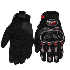 Image 3 - Leather Gloves Motorcycle Gloves Motorcycle motocross Bike Riding breathable Men Women Full Finger Touch Screen Gloves