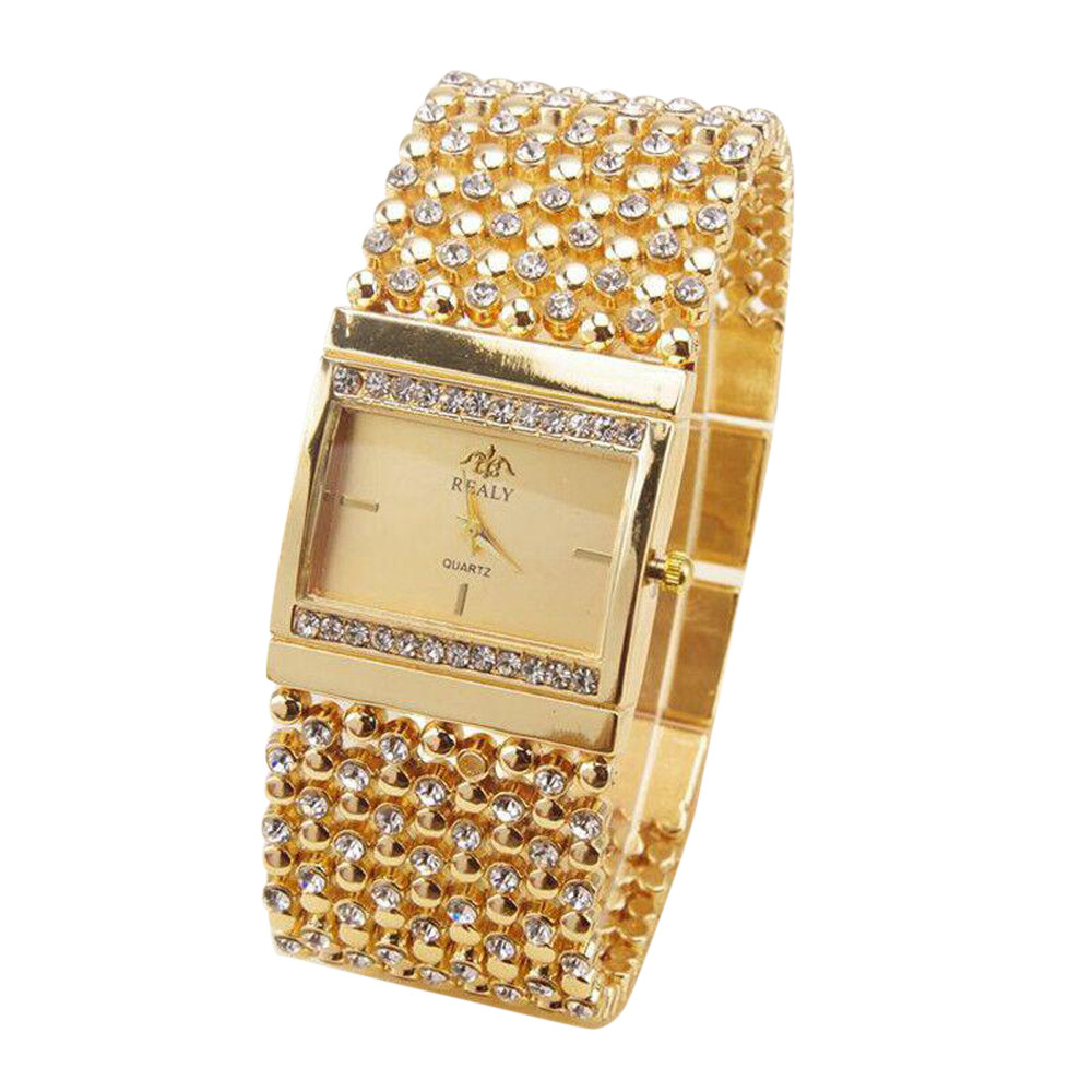 Ladies Watches Rhinestone Crystal Analog Wrist Watch Exquisite Diamond Women's Watches Bayan Kol Saati Features Square Dial B40