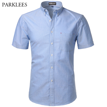 Oxford Shirt Men 2017 Brand New 100% Cotton Short Sleeve Mens Dress Shirts Casual Slim Fit Soft Chemise Homme Camisa Masculina - discount item  49% OFF Shirts