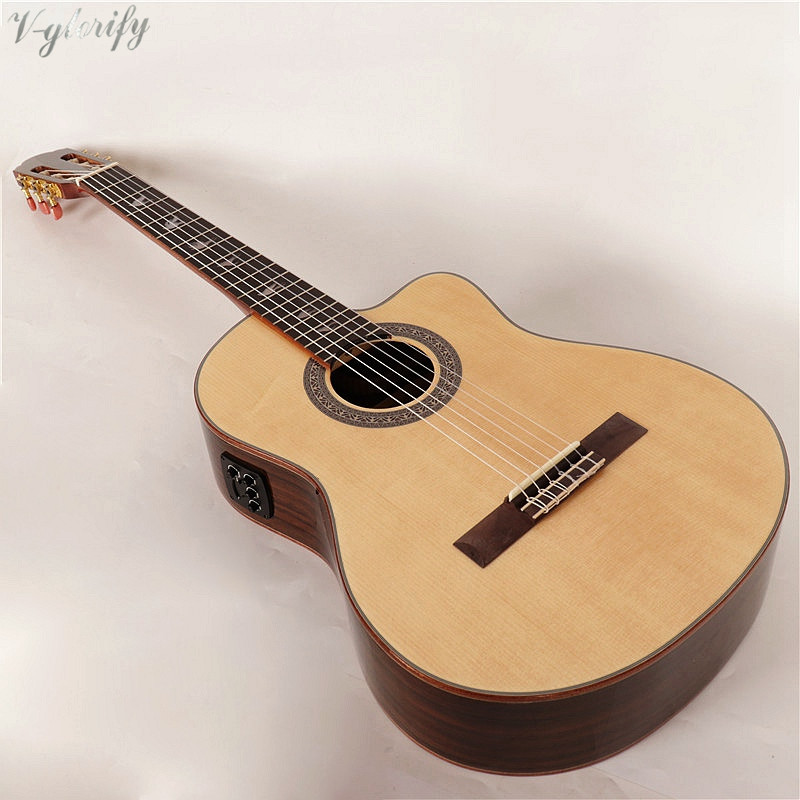 high gloss solid wood classic guitar with electric pickup