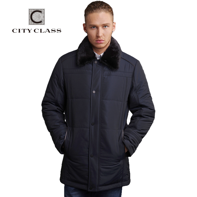 CITY CLASS New Men Top 3M Cotton Fashion X- long Sections Thinsulate Classic Removable Mink Collar Free Shipping CC14328