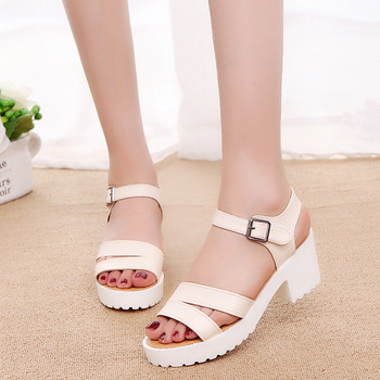 Women Sandals Color Thick High Heel Casual