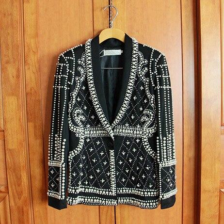 Un Seul Avec Slim Magnifique Jacket Perlé Main Femmes Perles Mode Manteau Blazer De La Bouton 2016 Embelli Nouveau Luxe Noir Piste 8wq8CTU
