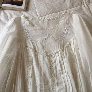 Image 2 - Soft Cotton Hand made Embroidery Womens Pajamas Sets Autumn Vintage Sweet Female White Pyjamas Long Sleeve Sleepwear  2228