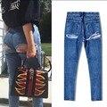 Fato americano jeans mulher jeans rasgado para as mulheres quentes calças de brim femme pantalon femme perfume 212 jardineira feminina denim jean
