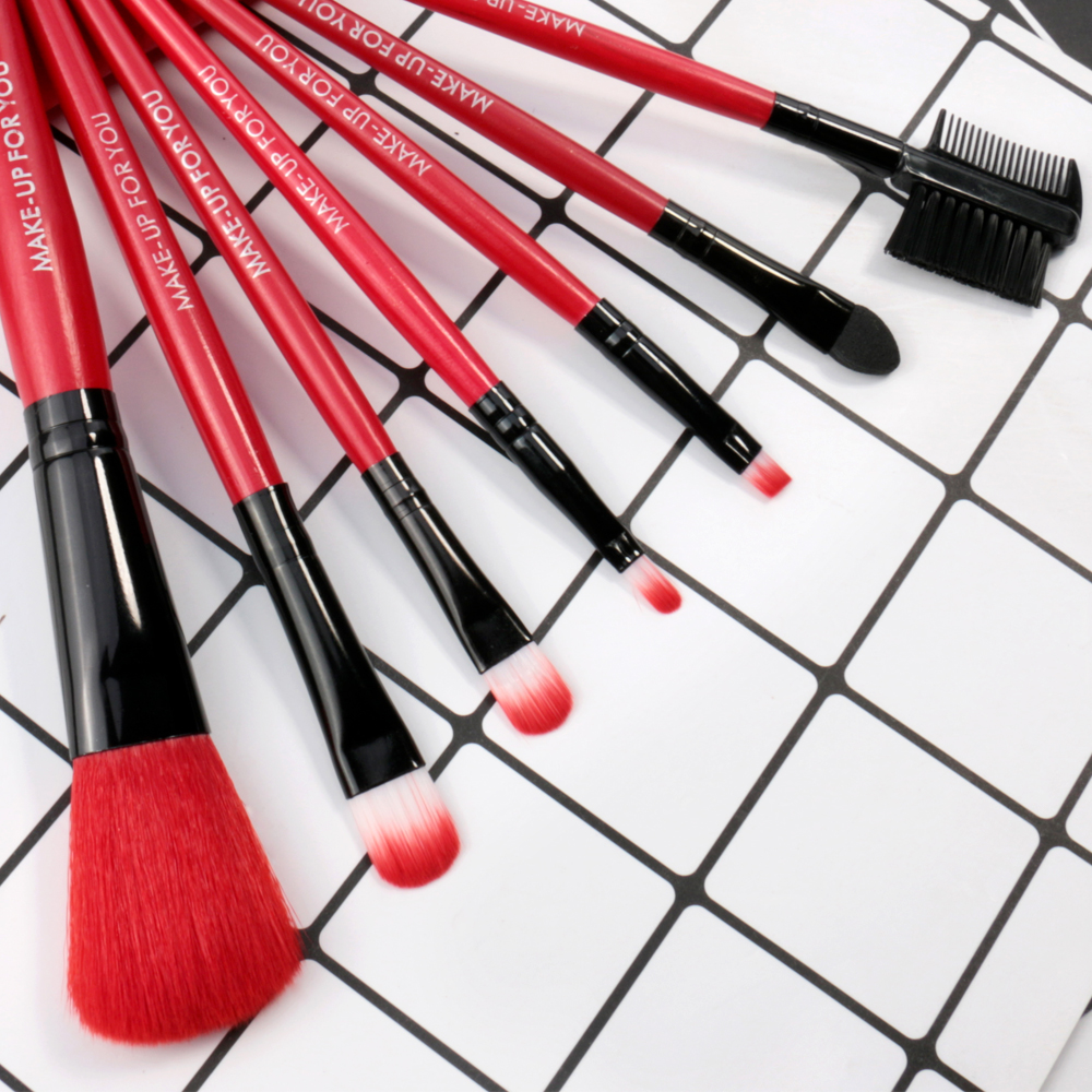 O.TWO.O 7pcs/lot Red Make Up Brushes Set Cosmetics Brush Set Beauty Eye Primer Powder Blush Brush With Bag