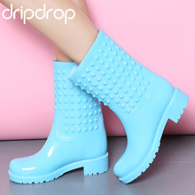 DRIPDROP Rubber Rain Boots Fashion Women Rivets Colorful  Non-slip Girls Waterproof Shoes