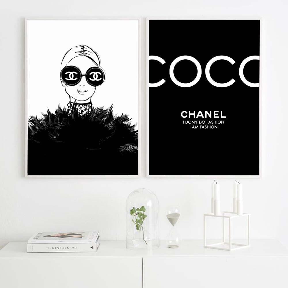 mode noir femme affiche parfum nordique mur art toile peinture noir