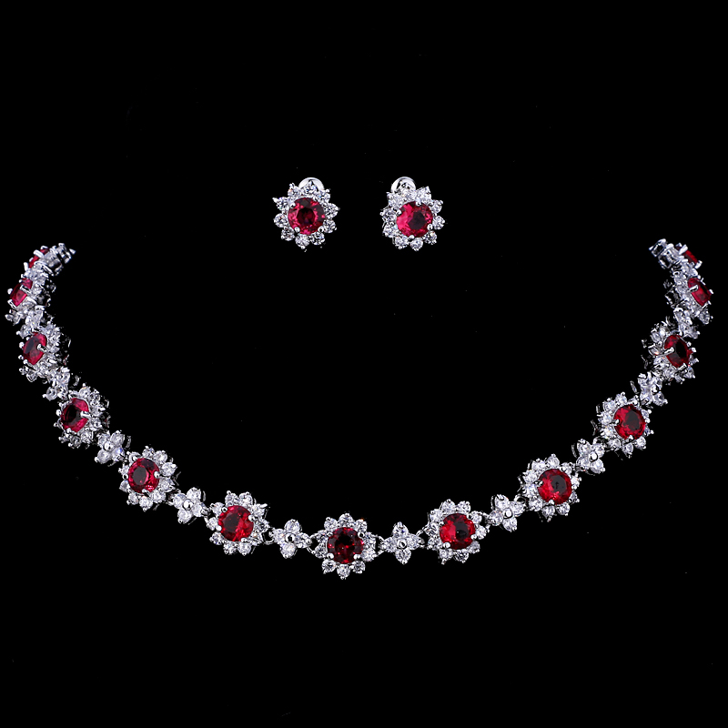 Emmaya Luxury Cubic Zircon Crystal Bridal Jewelry Sets Necklace Earrings Sets for Women Wedding Party Jewelry