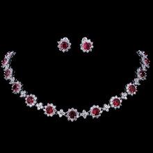 hot deal buy emmaya luxury cubic zircon crystal bridal jewelry sets necklace earrings sets for women wedding party jewelry