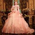 2016 Vestido Quinceanera Vestidos de Aniversário de 15 Ano Debutante Bola Vestidos Apliques de Contas da Luva do Tampão Com Decote Em V Até O Chão Peach Peach