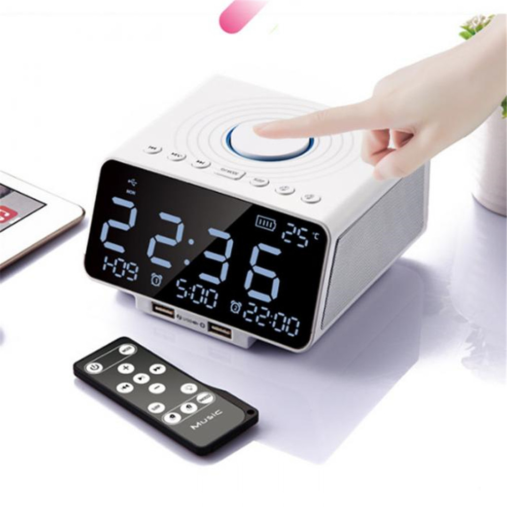 Hot sale Clock FM Radio with Wireless Bluetooth Player Speaker USB Fast Charge Port LED Display for Bedroom цена