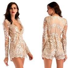 Sexy Womens Fashion Flowers Embroidery Deep V Neck Mesh Long Sleeve Nightclub Holiday Beach