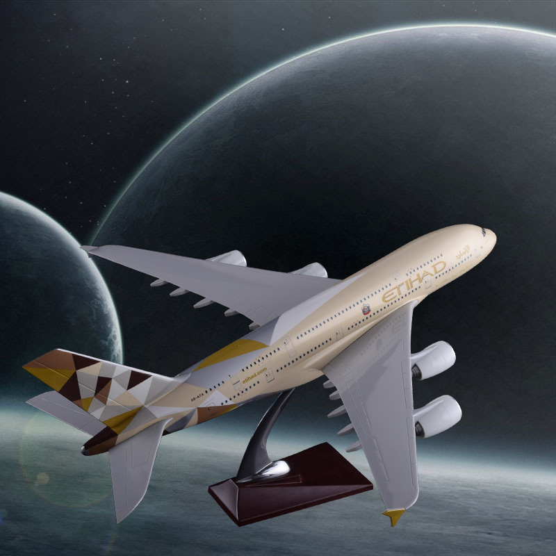 45cm Resin Etihad Airbus A380 Aircraft Model Etihad Airlines Airplane Stand Model A380 Airways Highclass Collection Holiday Gift 36cm resin a380 great british airplane model england airlines airways model plane aircraft stand craft british a380 airbus model