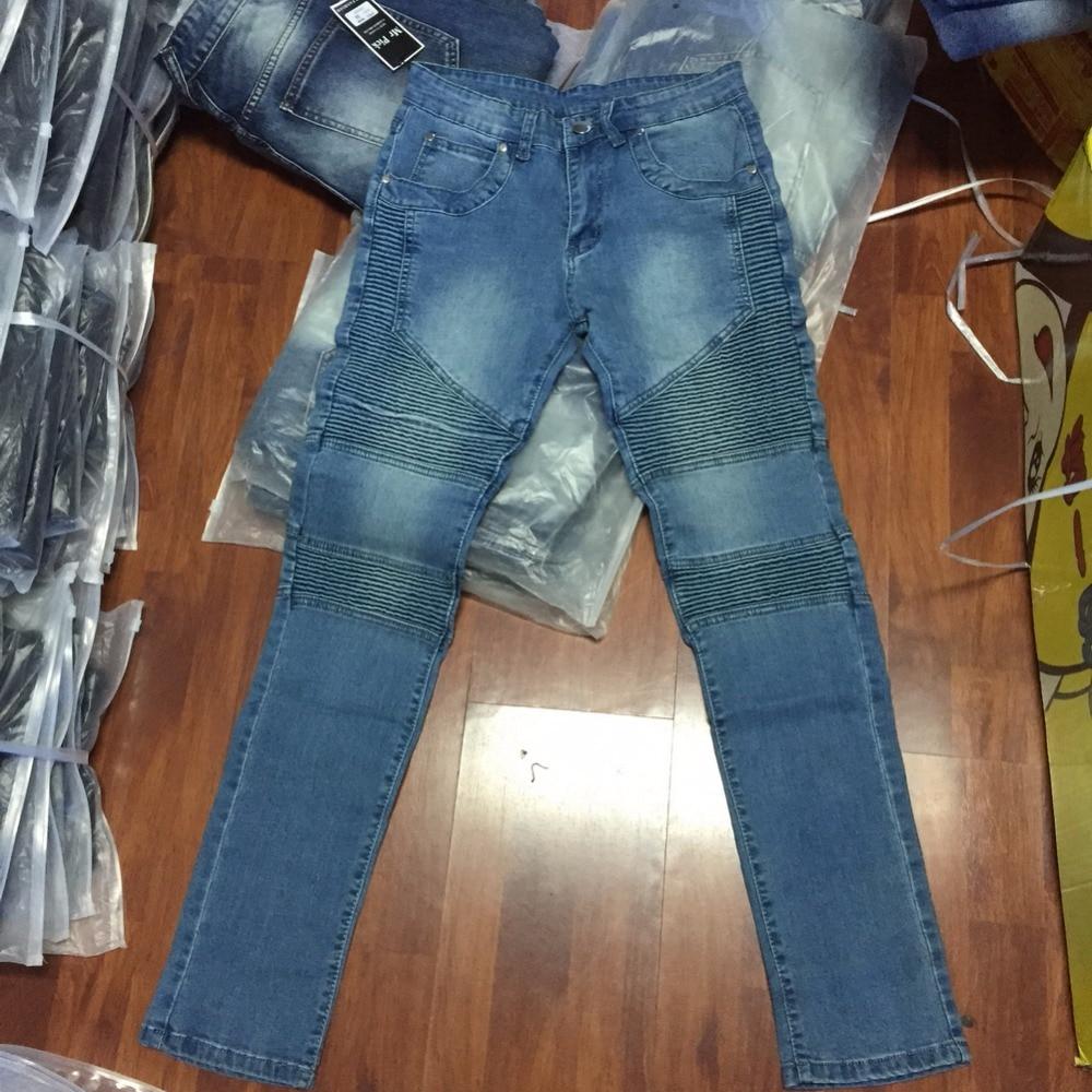 2016 Heren Skinny Jeans Heren Runway Slanke Racer Biker Jeans Strech - Herenkleding - Foto 4