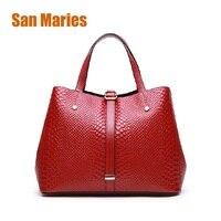 San Maries Brand Genuine Leather Luxury Serpentine Real 100 Cow Leather Elegant Multi Functional Big Shoulder