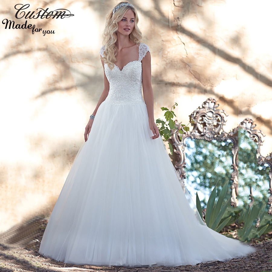 Romantic Vestido de Noiva Sweetheart with Detached Cap Sleeves Lace Victorian Princess Wedding Dresses 2016 Customize-in Wedding Dresses from Weddings ...