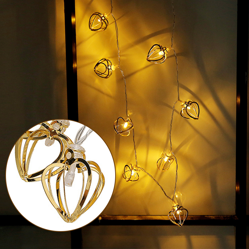Nice Heart Shape Fairy Lamps Living Room Party Charming Festival Light String Durable Bedroom Battery Powered Hollow Out Metal Lights & Lighting Outdoor Lighting