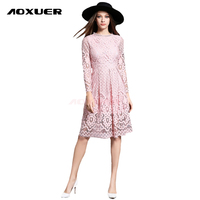 New 2016 Summer Fashion Hollow Out Elegant White Lace Elegant Party Dress High Quality Women Long