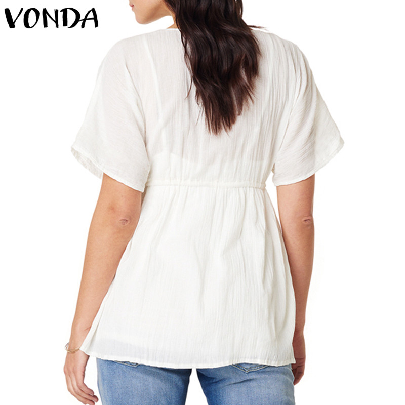 Gran Cuello Verano De Tamaño Camisas Casual Negro Sexy Sólido V Tops 2018 Corta Blusas Mujeres Manga Black white Blanca Camisa Blusa qvnxt5aU