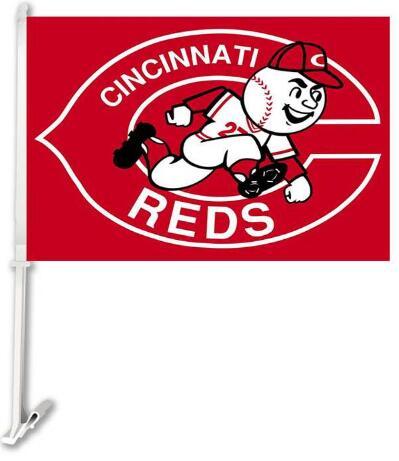 30x45CM Cincinnati Reds car Flag window Car flag polyester Car decoration with flagpole Free Shipping