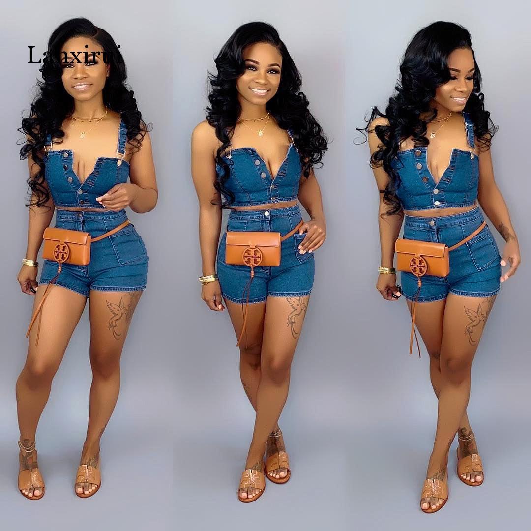 Sexy Women 2 Two Piece Set Summer Denim Set Sleeveless Jeans Crop Top + Shorts Suit Blue Denim Matching Set Outfit