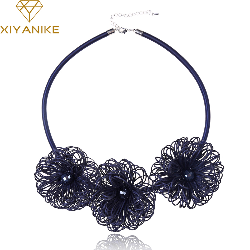 XIYANIKE 2017 New Handmade Simple Flowers Seaweed Statement Choker Necklace Leather Wedding Jewelry Pendants Accessories N750
