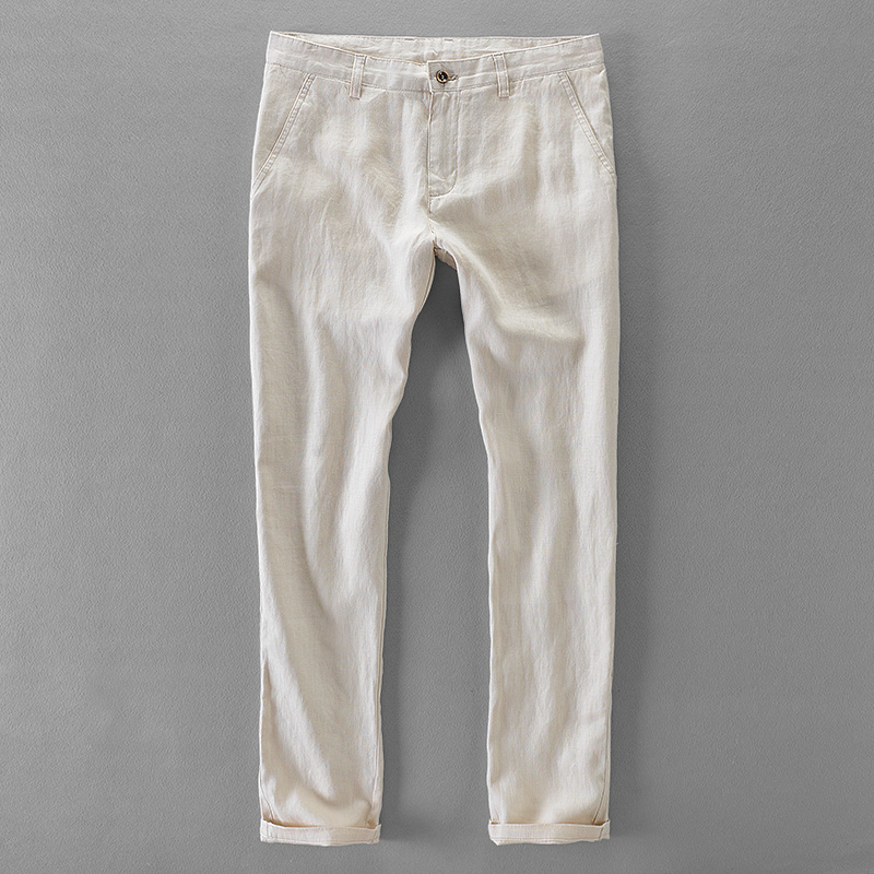 100% Quality Pure Linen Casual Pants Men Brand Long Men Trousers Business Fashion Pants Mens Solid Flax Trousers Mens Pantalon