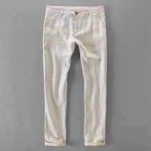100% qualidade de linho puro calças casuais dos homens marca longa calças de negócios moda calças dos homens sólido linho pantalon