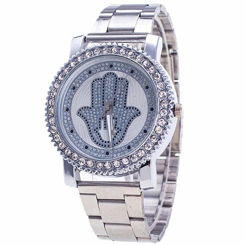 Jauns modes sieviešu pulkstenis grezns nerūsējošā tērauda rhinestone palmu rakstu kvarca rokas pulkstenis dāmu kleita pulkstenis relogio feminino