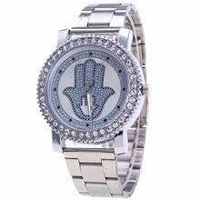 Nouvelles Femmes De Mode Montre De Luxe En Acier Inoxydable Strass Palm Motif Montre-Bracelet À Quartz Dames Robe Horloge Relogio Feminino