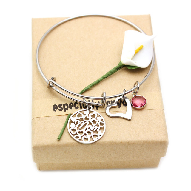 Us 3 12 33 Off Love Family Crystal Birthstone Mom Bracelet Jewelry Expandable Wire Heart Bangles Mother S Day Gift For With Box In
