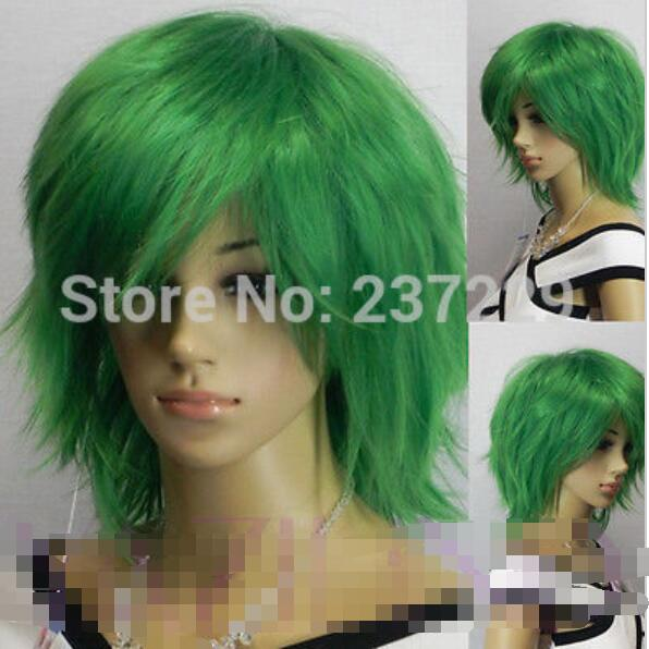 suyushun3448056++Short Bright Green Layered Spiky Synthetic Hair Full Wig  Mens Unisex on Aliexpress.com  4489fd7ac