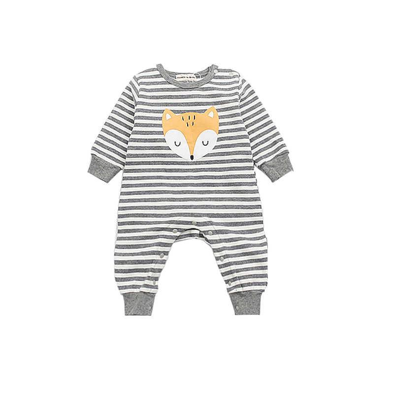 Mamelucos a rayas animales zorro recién nacido niñas niños ropa de algodón de manga larga infantil mono de otoño 0-2 años