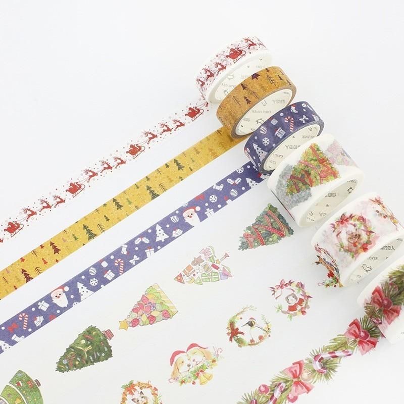 1pc Christmas Gift Kawaii Washi Tape Scrapbooking Masking Tape Cute Diary DIY Decoration Stickers Washy Tape Stationary 024010