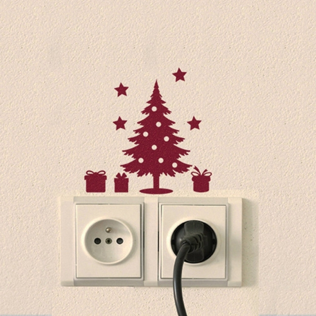 Christmas Pine Tree Light Switch Stickers Vinyl Christmas Tree - Vinyl-decals-to-decorate-light-switches-and-outlets