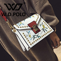 W.D POLO Bling pu leather women high chic embroidery city hand bag computer image embroidery  design lady shoulder bag m2252