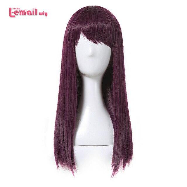 L email peruk Yeni Film Mal Karakter Cosplay Peruk 50 cm Uzun Mor Isıya Dayanıklı Sentetik Saç Peruk Cosplay peruk