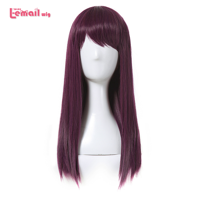 L email wig New Movie Character Cosplay Wigs 50cm Long Purple Heat Resistant Synthetic Hair Perucas