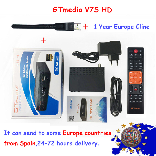 Gtmedia v7s 1 Year Europe clines freesat v7s HD Satellite Receiver Full 1080P HD With USB WIFI Support YouTube PowerVu