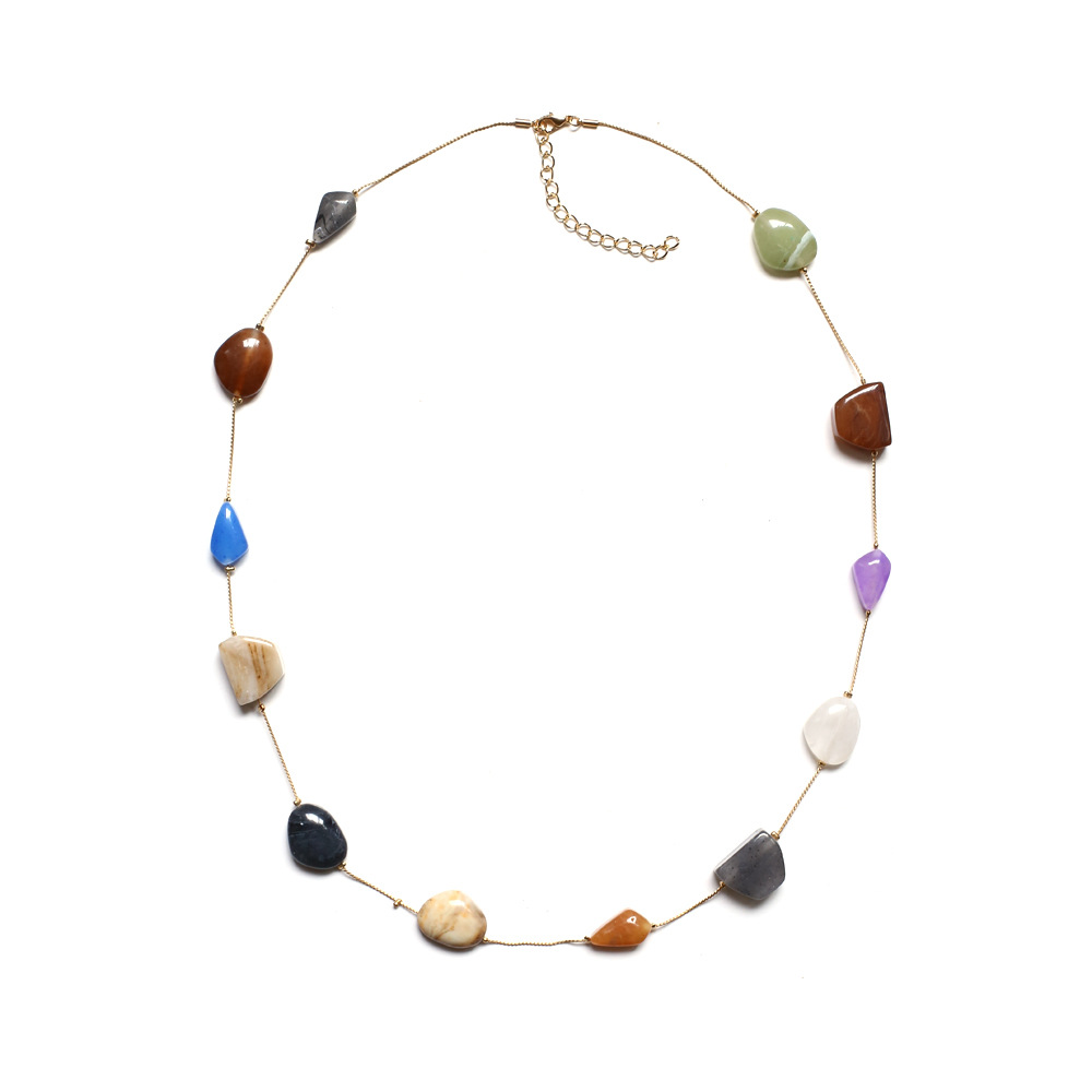 Za New colorful Boho stone Long Necklace Jewelry Chains Necklaces Rope Chain Resin Geometric Party Statement Mothers Day Gift
