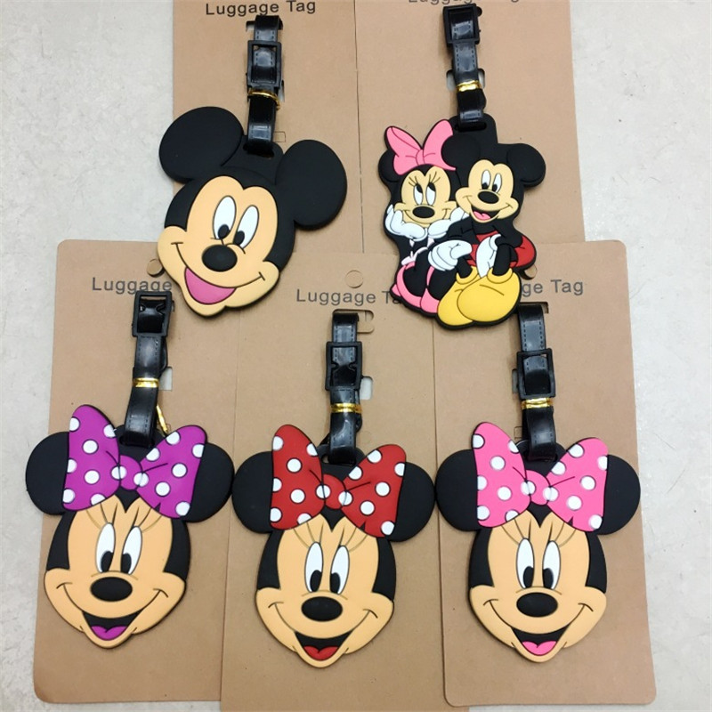 Disney Cartoon Mickey Mouse Travel Accessories Luggage Tag Minnie Suitcase ID Addres Holder Baggage Boarding Tags Portable Label