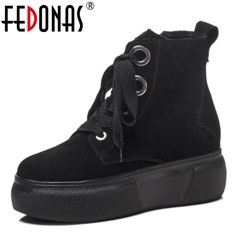 FEDONAS Ankle Boots For Women Shoes Solid Lace Up Platforms Martin Shoes Woman Autumn hort Boots Fashion Simple High Heels Shoes fedonas lace up boots 2019 fashion thick heel mid calf boots women high heels autumn winter shoes woman platforms boots